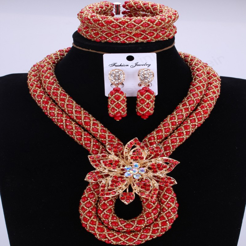 Fantastic African Beads Jewelry Set Handmade Crystal Bridal Necklace Jewelry Set Choker Women Jewelry Set Free