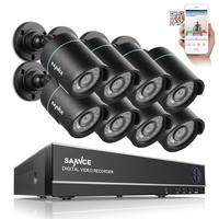 SANNCE 8CH 1080N 720P HDMI CCTV System Video Recorder 4PCS 720P Home Security Camera Waterproof Night