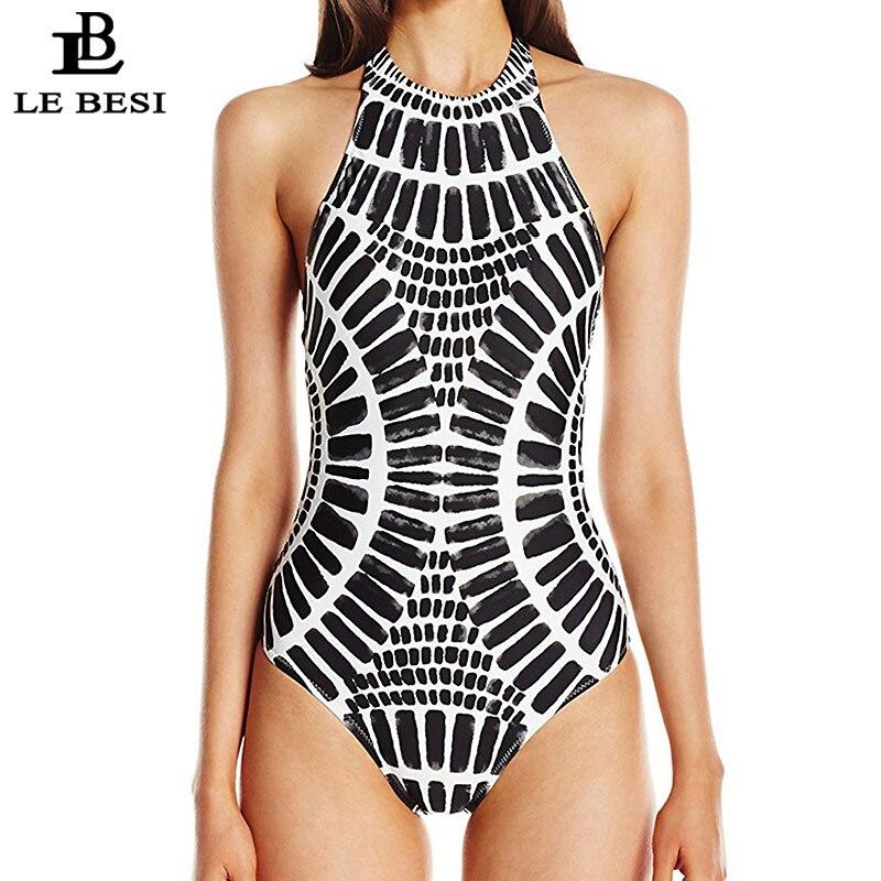 LEBESI Digital Print Black One Piece Swimsuit Women Monokini Sexy Swimwear High Cut BathingSuit Backless Beachwear Bodysuit