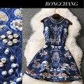 2016 designer de Mulheres melhor Qualidade Noble Vestido de Festa marca de luxo Barroco floral Impressão Rebite Frisado Maquineta do Algodão Tanque mini Vestido