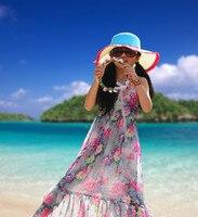 Retail Girls Flower Printed Beach Dress Chiffon Summer 2014 Kids Girl Long Bohemian Dress Teenage Girls