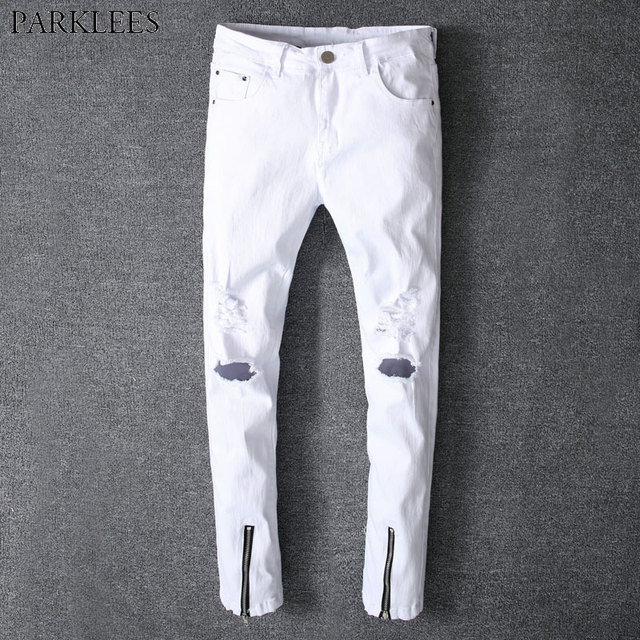 49d738c1d9c 2018 Summer New White Ripped Jeans Men Fashion Holes Bottom Zipper Skinny  Jeans Homme Casual Hiphop Swag Style Denim Jeans Pants