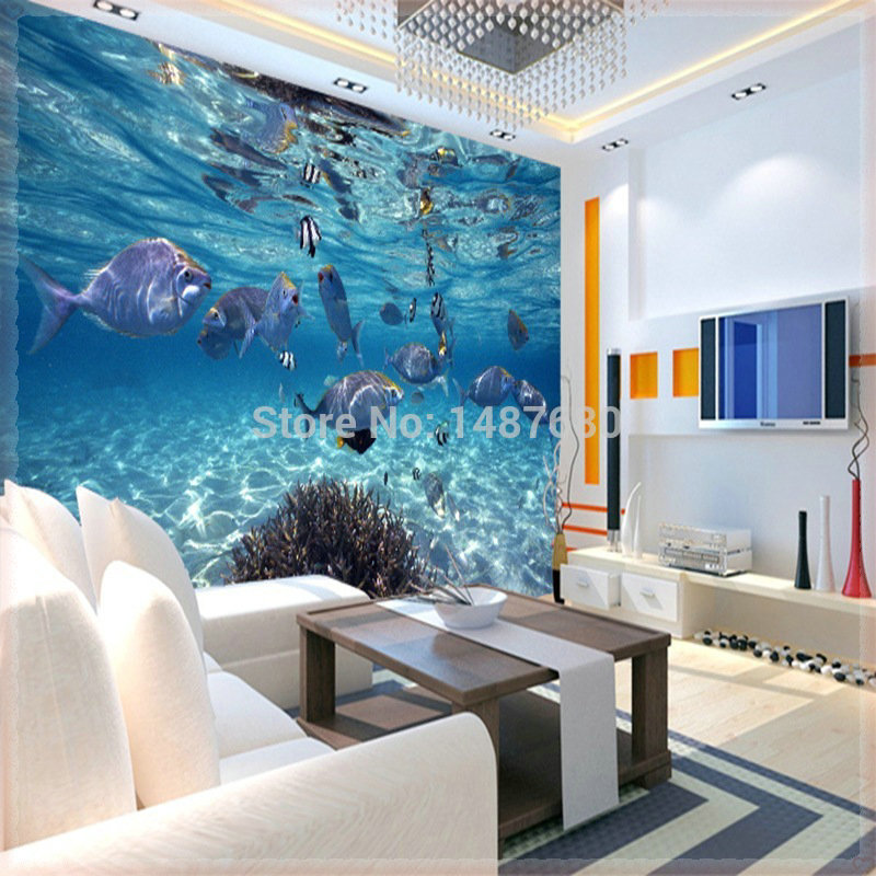 Perfect 3D Stereoscopic Large Mural Wallpaper Underwater World Marine Fish Living  Room Childrenu0027s Room TV Background Wallpaper Papeles P In Wallpapers From  Home ...