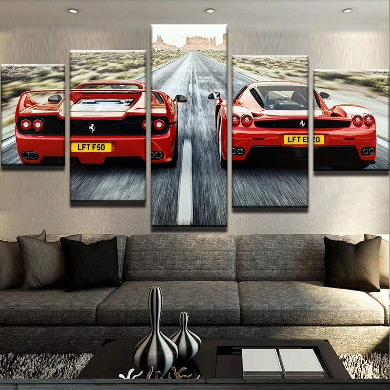 Hot sell 2 panels of two cool red sports cars canvas paintings poster printer of sofa background wall decals