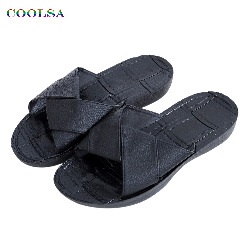 COOLSA New Summer Men Pu Cross Slippers Soft Flat Sandals Solid Non-Slip Flip Flop Outdoor Casual Male Fashion Brand Beach Shoes sandals 2016 new famous brand buckle womens flip flop sandals summer beach sandals af327