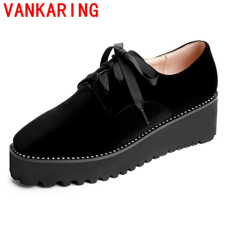 ФОТО VANKARING shoes 2017 korean style fashion casual women shoes comfortable square toe leisure lace up platform fashion shoes