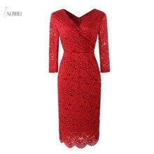 Элегантное бордовое кружевное короткое вечернее платье с цветочным рисунком, v-образный вырез, половина рукава, трапециевидные вечерние платья, robe de soiree