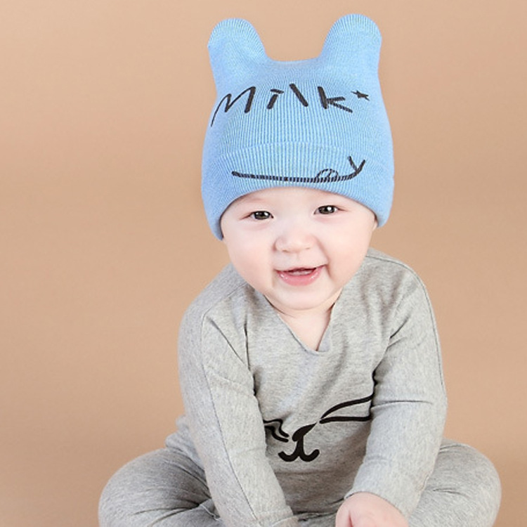 2017 Keep Warm Knitting Hat Autumn Winter New Baby Boy Girl Beanie  MILK Pullover Baby Cotton Children Hats As A Gifts owl style male baby s organic cotton knitting warm hat w earflaps blue black white green