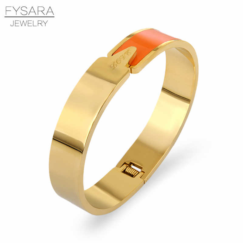 FYSARA Classic Luxury Brand 12mm Lover Bracelets Bangles For Women Orange/Red/Black Enamel Cuff Bracelet Stainless Steel Jewelry