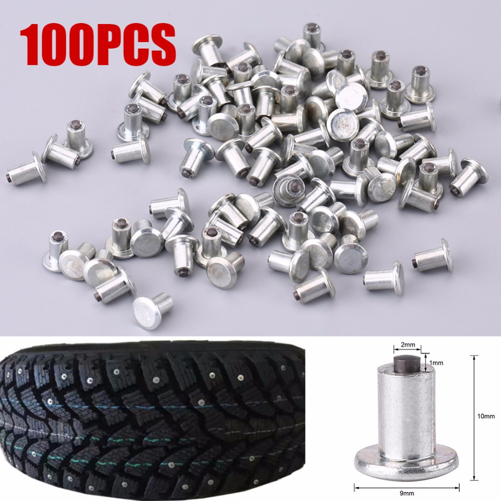 Tire Screw Snow Tire Screw 100 Pcs 9mm Anti-Slip Screw Stud Tyre Snow Chains Tire Spikes Trim For Motorcycle Car Truck
