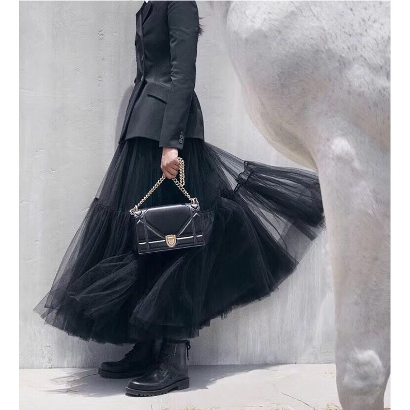 Cosmicchic Women High Waist Tutu Skirt Pleated Tutu Large pendant Maxi Skirt Fashion Runway Lolita Skirts