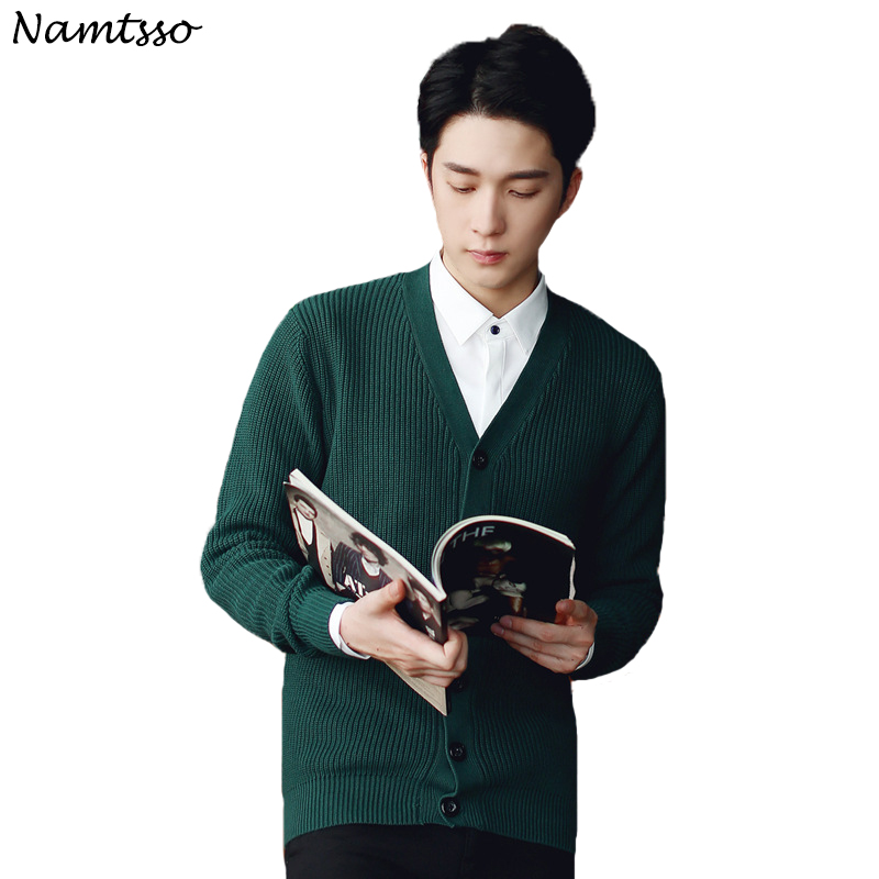100% Cotton Knit Cardigan Men's 2018 Autumn Winter New Coloured V Neck Long Sleeve Sweater Cotton Solid Color 286
