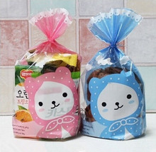 Free shipping cookie dessert biscuit plastic bag cute pink blue bear gift packing flat bags candy package supplies favors(China (Mainland))