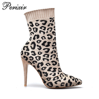Perixir women shoes for ankle boots Knitted Sock Faux Suede fashion leopard pointed toe 11cm high heels boots nude 35-41