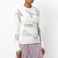 Autumn Fashion Tide Women's Hollow Out Knitting Sweater O Neck Long Sleeve Patchwork Lace White Pullovers