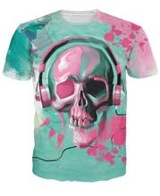 Skull Candy T-Shirt Skull Wearing Headphones 3d Print T Shirt Women Men Casual T Shirts Fashion Clothing Pullover Tees 5XL R2889