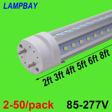 (4 Pack) Free Shipping LED Tube V shaped Bulb 270 angle T8 G13 two pins 2FT=12W 3FT=18W 4FT=24W 5FT=30W 6FT=36W 8FT=48W 85-277V t8 v shaped led tube bulb lights 3ft 18w g13 900mm 85 277v double line led lamp
