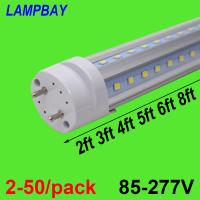 2 50/pack V shaped LED Tube Lights 2ft 3ft 4ft 5ft 6ft Fluorescent Bulb Super Bright 24 36 48 60 70 T8 G13 Bar Lamp
