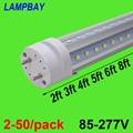 2-50/pack V vormige LED Buis Lichten 2ft 3ft 4ft 5ft 6ft Fluorescerende Lamp Super Heldere 24