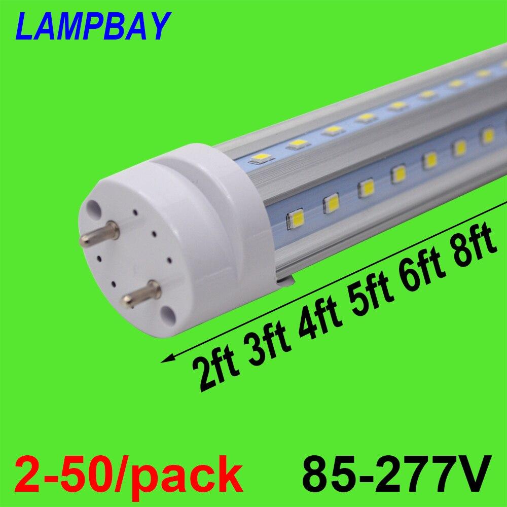 2-50/pacote v em forma de luzes de tubo led 2ft 3ft 4ft 5ft 6ft lâmpada fluorescente super brilhante 24
