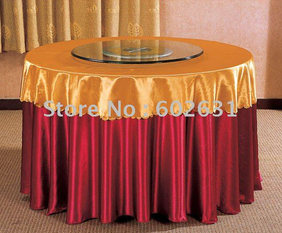 Tc005 Hot Sale Table Cloth Maroon Bottom Gold Top Gold