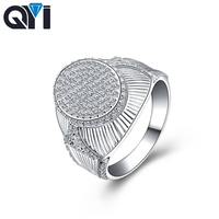 QYI New Arrival Male Luxury Jewelry Stunning 925 Sterling Silver White Shining CZ Zirconia Party Men Finger Band Ring