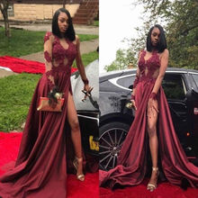 High Split Burgundy Lace Evening Dress Party Prom Wedding Guest Formal Gown Custom