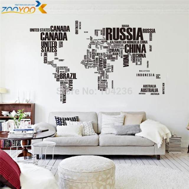 Online Shop large world map wall stickers original zooyoo95ab ...