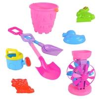 8pcs Baby Plastic Shovel Bucket Shovels Rake Hourglass Bucket Beach Toy Set Children Outdoor Beach Playset Sand Set for Children