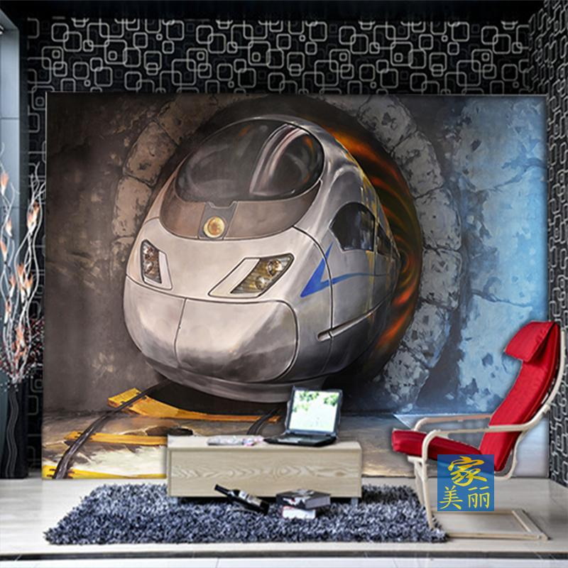 Free Shipping large mural wallpaper bedroom living room sofa TV background wall 3D stereo high speed trains wallpaper mural