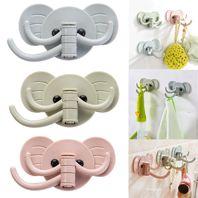 Cute elephant wall sticky hooks household kitchen bathroom clothes towels cooking tools hanger home tool