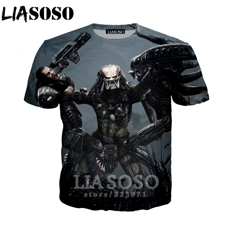 LIASOSO Summer New Fashion Men Women Sweatshirt 3D Print Movie The Predator   T     Shirt   Short Sleeve Top Harajuku Pullover A201-01