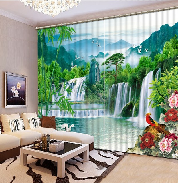 Home Decoration Living Room Natural Art natural scenery waterfall 3D Window Curtains For Bedding room & Home Decoration Living Room Natural Art natural scenery waterfall ...