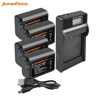 Powtree For Sony 4PCS 2000mAh 7.2V NP FW50 NP FW50 NPFW50 Camera battery + LCD Charger For Alpha a6500 a6300 a7R II a7II NEX 5N