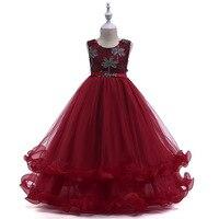 Children's princess net gauze dress coconut tree hot drill dress sleeveless lotus leaf girls dress girls christmas dress