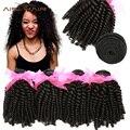 Pelo virginal malasio 7a funmi hair weave bundles 4 unids/lote hinchable fummi rizado productos para el cabello rosa malasio extensión del pelo humano