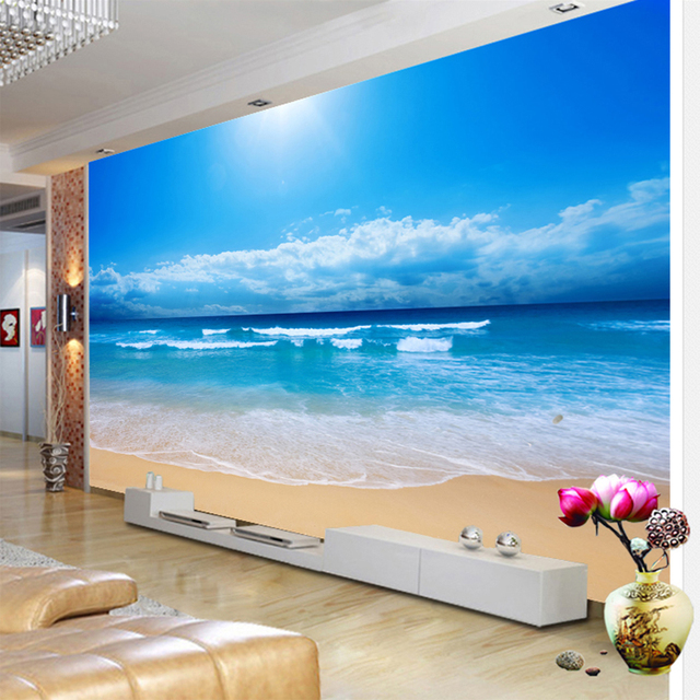 Пользовательские 3D фото стена Бумага вид на море настенная живопись Гостиная диван Спальня ТВ Задний план стены Бумага море солнце пляж Сте...