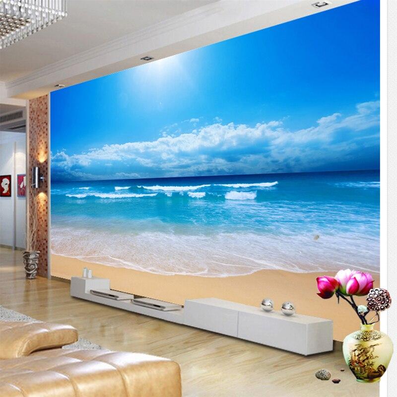 Mural de pared personalizado papel pintado con foto 3D vista al mar pintura para sala sofá dormitorio TV fondo de pared papel de pared mar sol playa