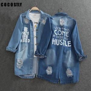 Denim Jackets Coat Women Jeans Plus-Size Ladies 8XL Outerwear Collar-Hole Spring-Turn-Down