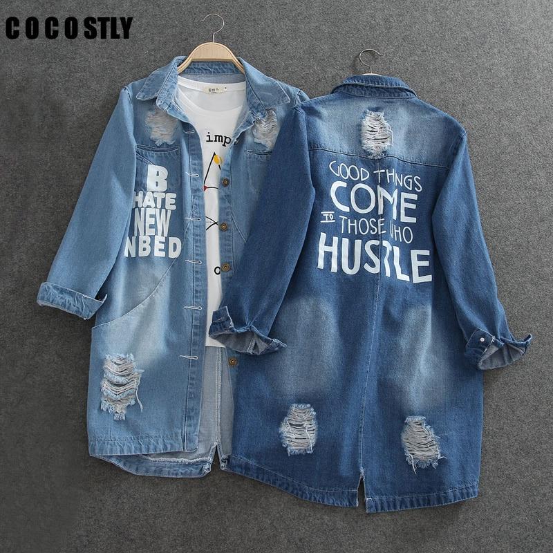 Ladies Denim Jackets Women Spring Turn Down Collar Hole Long Sleeve Casual Denim Jacket Women Jeans Coat Outerwear Plus Size 8XL