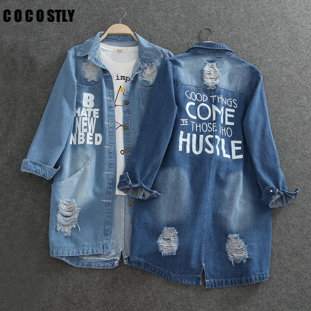 1e1ee4d44 Ladies Denim Jackets Women Spring Turn Down Collar Hole Long Sleeve Casual  Denim Jacket Women Jeans