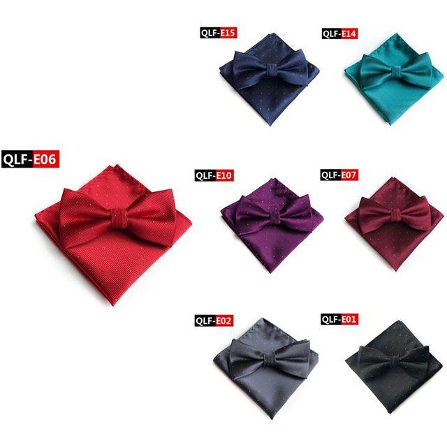 Hot 7 Color Men's Fashion Bow Ties Set Groom Gentleman Dots Cravat and Pocket Towel Handkerchief Wedding Party Business Ties T6 1