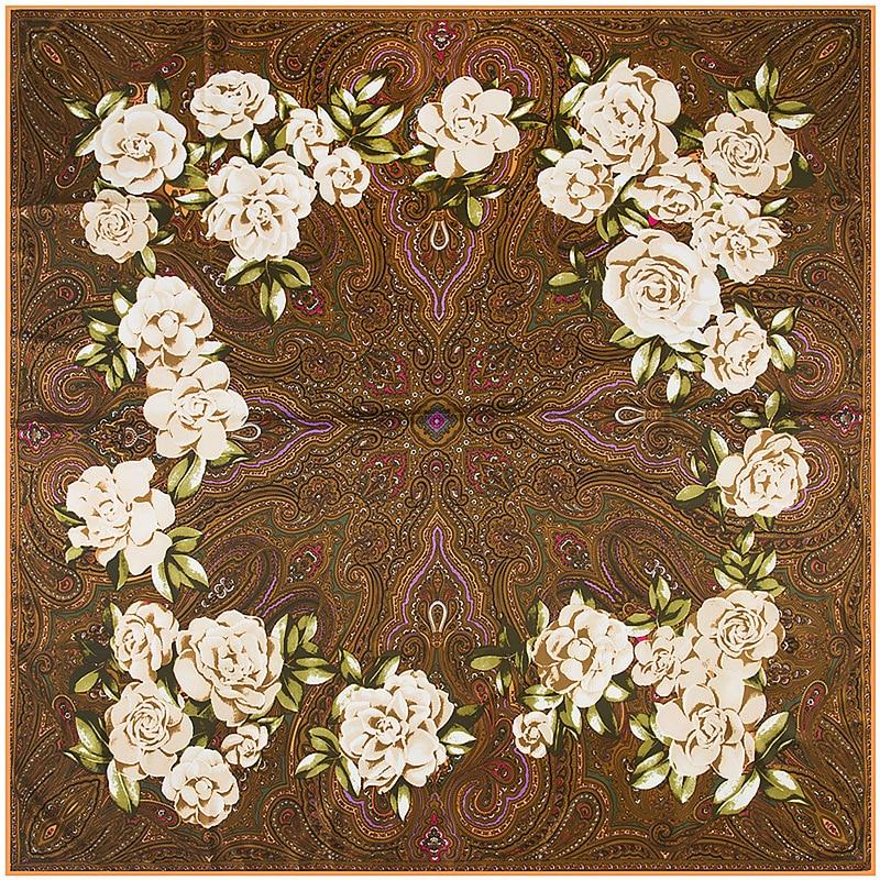 New Brand Woman Paisley Retro Camellia Print Shawl Twill Silk Scarf Square Scarf Bandana Woman Headband Hijab Scarves Wraps
