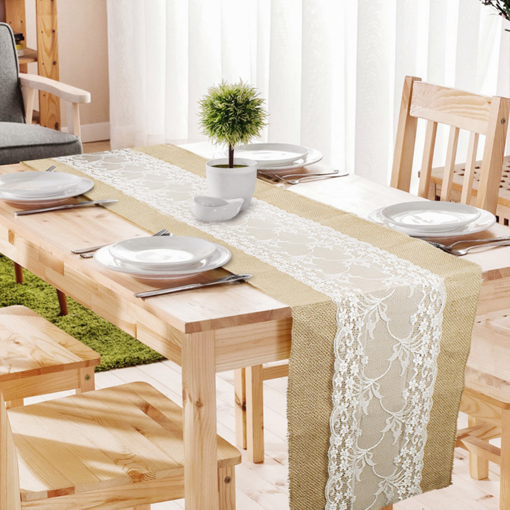 Elegant Jute Table Runner Burlap Lace Table Cloth Wedding