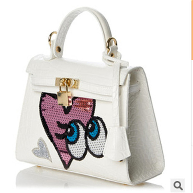 Love Cartoon Package Faux Crocodile Handbags Tote Las Eye S Pu Clasp Catch