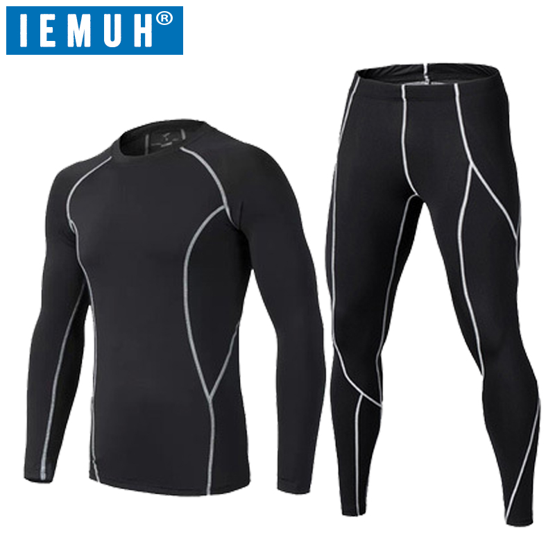 IEMUH Brand Men Thermal Underwear Set Winter Warm Hot-Dry Technology Surface Elastic Force Female Compression Long Johns Suit
