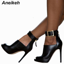 Aneikeh Gladiator Women Pumps Ladies Sexy Buckle Strap Roman High Heels Open Toe Sandals Party Wedding Shoes Size 35-40 Black