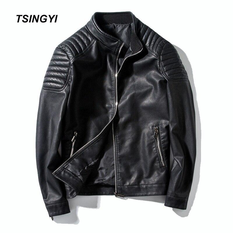 Tsingyi automne Moto hommes Veste en Cuir PU col montant Slim Fit Moto Vintage Jaket en Cuir hommes Veste Cuir Homme manteaux