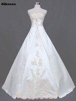 Ivory A Line Wedding Dress Long Elegant Wedding Dresses Cheap Bridal Gowns Beaded Vestido De Noiva