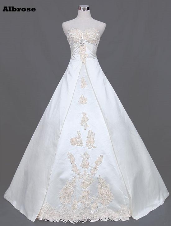 Elfenben En Line Bröllopsklänning Lång Elegant - Bröllopsklänningar